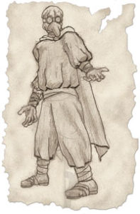 Drawing of a man wearing an ancient doctor's mask